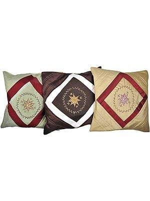 Lot of Three Cushion Covers with Thread Embroidered Flowers and Patch Work