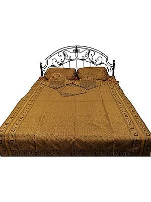 Amber-Gold Five-Piece Banarasi Single Bedspread with Tanchoi Weave