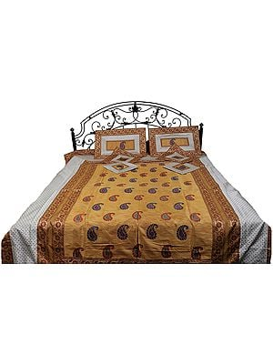 Seven-Piece Banarasi Bedspread with Floral Weave and Embroidered Paisleys