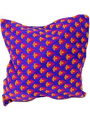 Purple Hand-woven Banarasi Cushion Cover