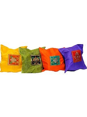 Lot of Four Ashtamangla Patch Cushion Covers from Banaras