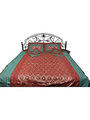 Scarlet and Green Seven-Piece Banarasi Bedspread with woven Elephants and Butterflies
