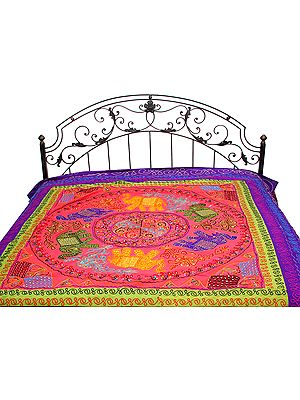 Gujarati Bedspread with Appliqué Elephants and All-Over Embroidery