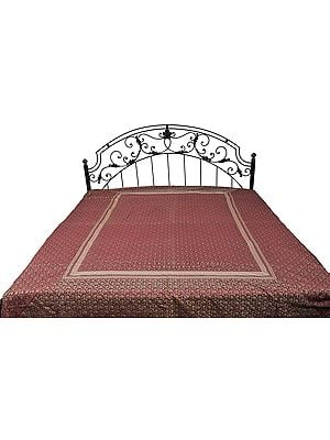Earth-Red Banarasi Bedspread with All-Over Woven Flowers