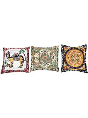 Lot of Three Cushion Covers with Ari Embroidery