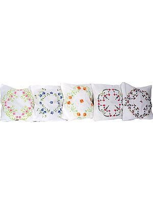Lot of Five Ivory Cushion Covers with Ari Embroidered Flowers
