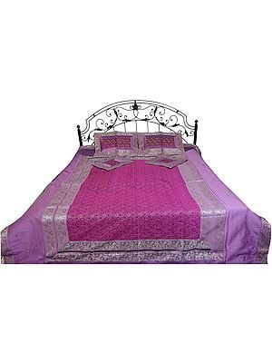 Five-Piece Banarasi Bedspread with Woven Paisleys and Brocaded Border