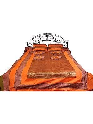 Seven-Piece Banarasi Bedspread with Brocade Weave