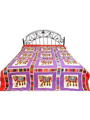 Bedspread from Gujarat with Applique Elephants and Kantha Embroidery