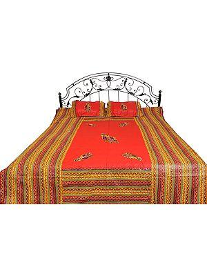 Bedspread from Gujarat with Appliqued Village Ladies