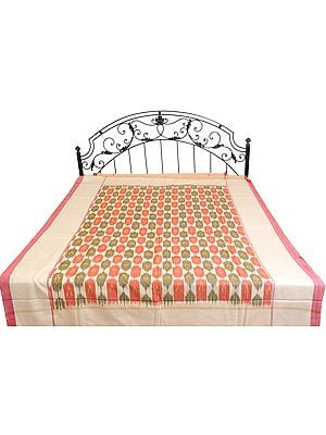 Single-Bed Bedspread with Ikat Weave Hand-Woven in Pochampally
