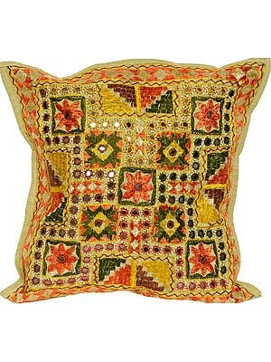 Cushion Cover from Jaipur with Embroidered Flowers and Mirrors