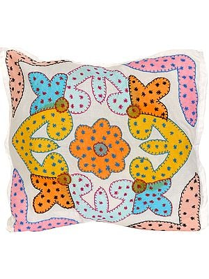 Winter-White Cushion Cover with Applique and Kantha Embroidery