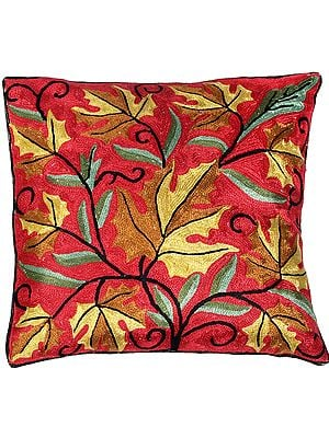 Cushion Cover with Ari Embroidered Floral Motifs