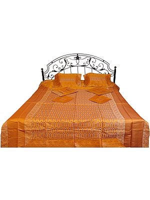 Seven-Piece Banarasi Bedspread with Woven Flowers and Brocade Border