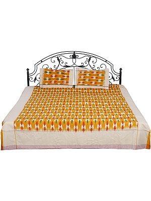 Ikat Bedspread Hand-Woven in Pochampally