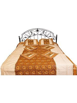 Seven-Piece Banarasi Bedspread with Embroidered Flowers