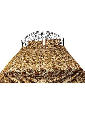 Nugget-Gold Batik Bedspread from Pilkhuwa with Printed Flowers