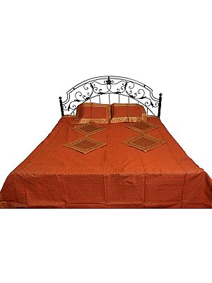 Seven-Piece Tanchoi Banarasi Bedspread with Woven Paisleys and Brocaded Border