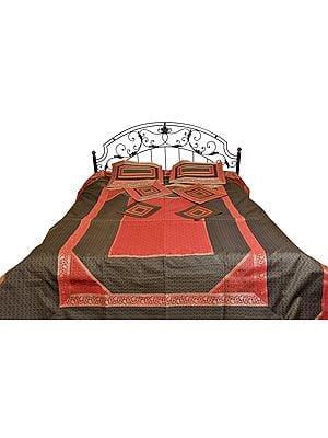 Seven-Piece Banarasi Brocaded Bedspread with Tanchoi Weave