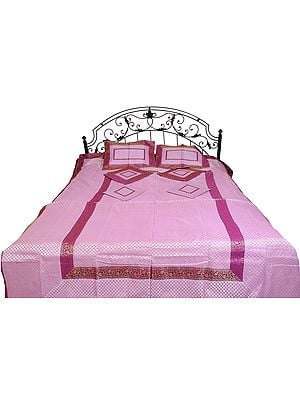 Pink-Lavender Seven-Piece Banarasi Bedspread with Woven Bootis and Brocade Border
