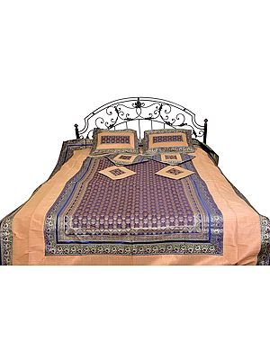Seven-Piece Banarasi Bedspread with Woven Kalash and Brocaded Border