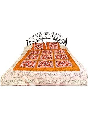 Ivory and Nugget Gujarati Bedspread with Embroidered Elephants and Mirrors