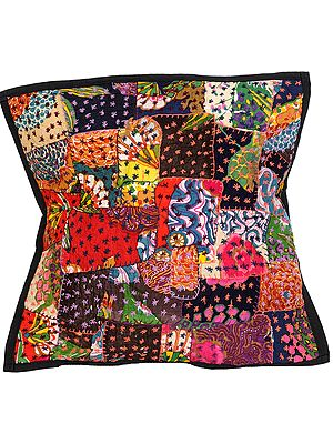 Cushion Cover with Floral Patches and Kantha Embroidery