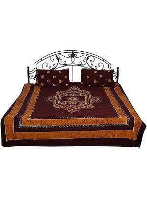 French-Roast Batik Bedspread from Kutch with Printed Motifs