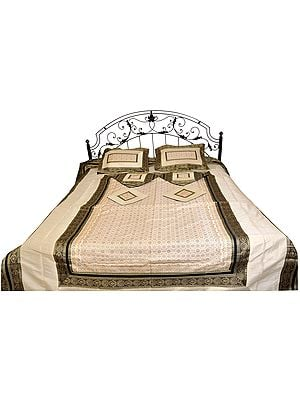 Ivory Seven-Piece Bedspread from Banaras with Brocaded Border and Tanchoi Weave