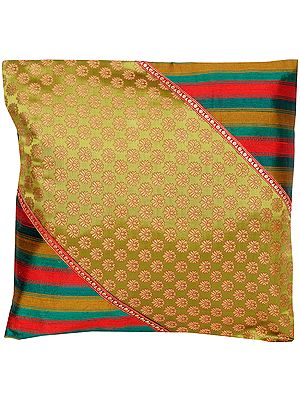 Moss-Green Cushion Cover from Banaras with Woven Bootis