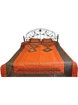 Copper-Coin Seven-Piece Brocaded Bedspread from Banaras with Tanchoi Weave