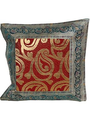 Green and Maroon Brocaded Banarasi Cushion Cover with Woven Paisleys