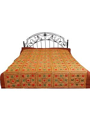 Copper-Brown Bedspread from Kutch with Embroidered Flowers and Mirrors