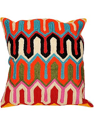 Multi-Color Ari-Embroidered Cushion Cover from Jaipur