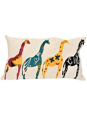 Ivory Pillow-Case with Embroidered Giraffes