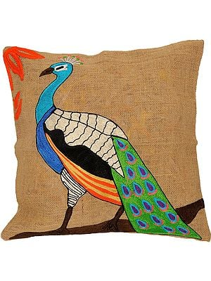 Latte-Colored Cushion Cover with Embroidered Peacock