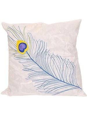 Bright-White Cushion Cover with Embroidered Peacock Feather