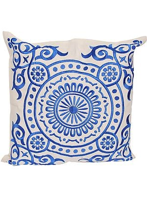 Snow-White Cushion Cover with Embroidered Mandala
