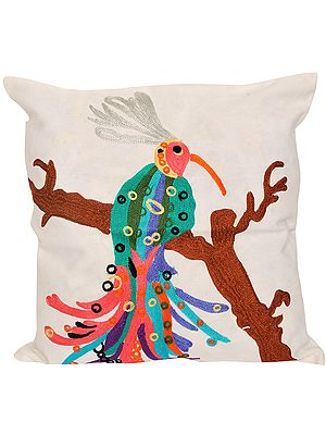 White Cushion Cover with Embroidered Cockatoo