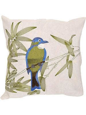 White Cushion Cover with Embroidered Sparrow