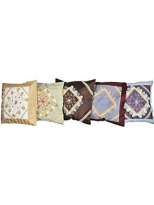 Lot of Five Cushion Cover with Floral Embroidery and Lace