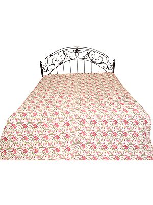 Bedcover from Jodhpur with Printed Flowers and Kantha Straight Stitch