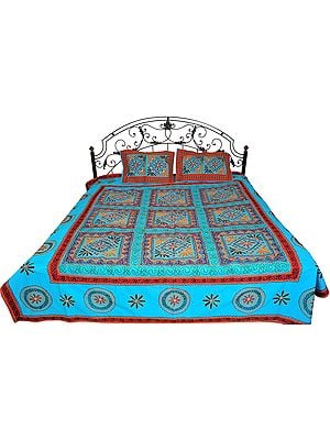River-Blue Bedspread from Gujarat with Embroidered Flowers and Mirrors