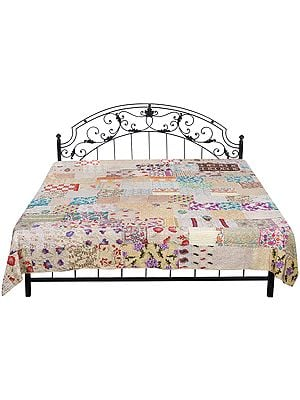 Frosted-Almond Bedspread from Gujarat with Floral Patch Work and Kantha Straight Stitch