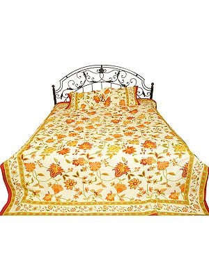 Bedspread from Sanganer with Printed Flowers and Leaves