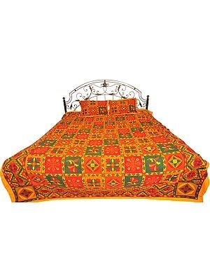 Multicolor Sanganeri Bedspread from Gujarat with Printed Flowers and Kantha Stitch