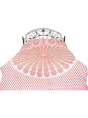 Bedspread from Jodhpur with Printed Giant Mandala