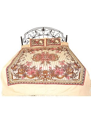 Gray-Sand Bedspread from Pilkhuwa with Floral Print and Stripes