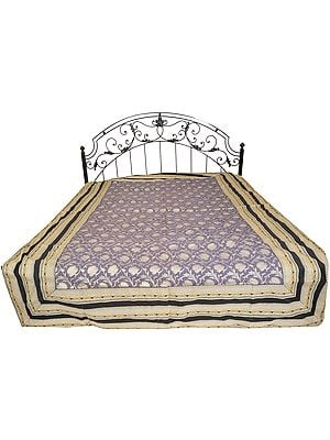 Excalibur-Gray Single-Bed Bedspread from Banaras with Woven Lotuses